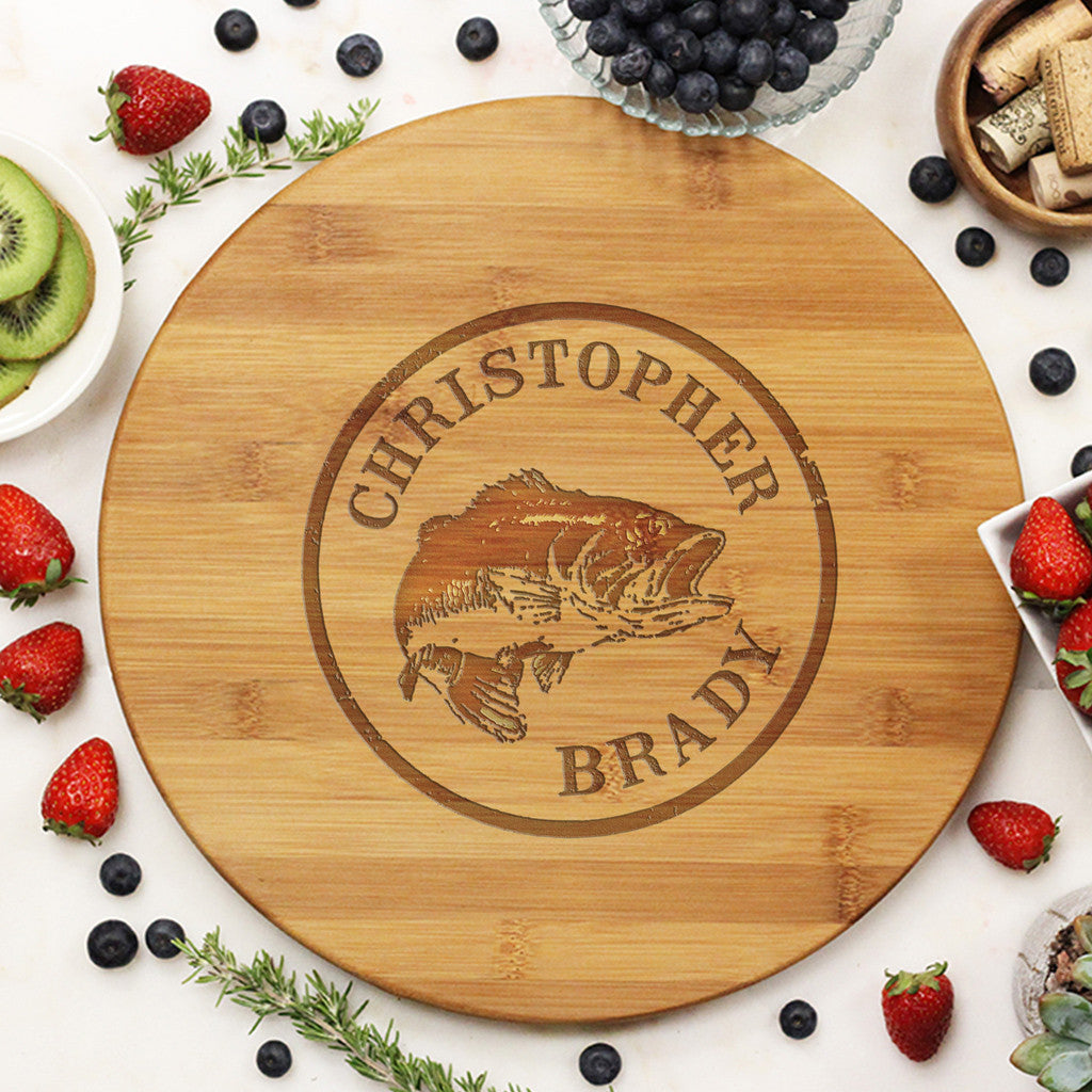 "Round Cutting Board ""Christopher Brady"" Trout"