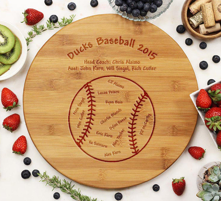 "Round Cutting Board ""Baseball"""