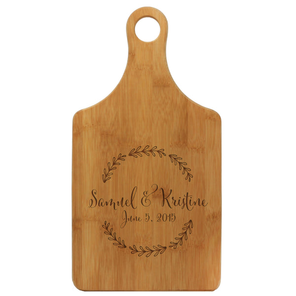 "Paddle Cutting Board ""Samuel & Kristine Floral"""