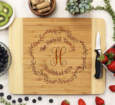 "Cutting Board ""Harold Family Wreath"""