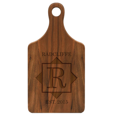 "Paddle Cutting Board ""Radcliffe Square Design"""