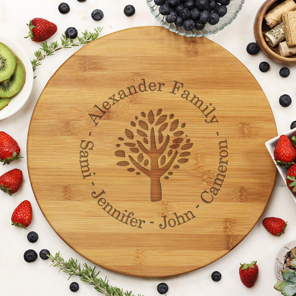 "Round Cutting Board ""Alexander Family Tree"""