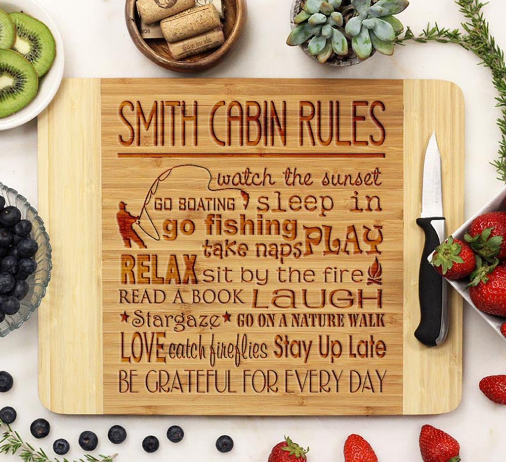"Cutting Board ""Smith Cabin Rules"""