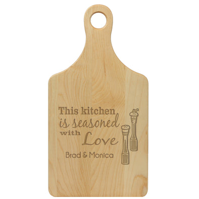 "Paddle Cutting Board ""This Kitchen is Seasoned with Love"""