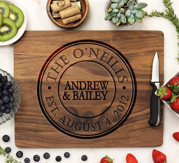 Wooden Cutting Board With Established Date Circle Design