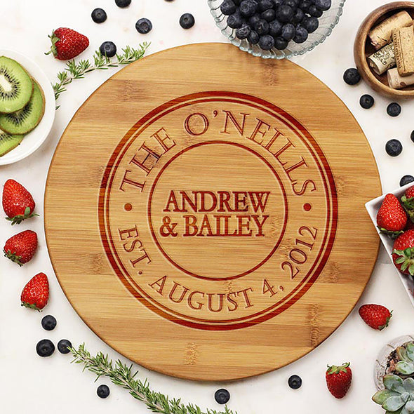Established Family With Date Round Cutting Board