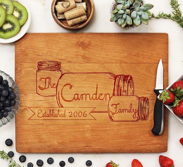"Cutting Board ""Camden Family Mason Jars"""