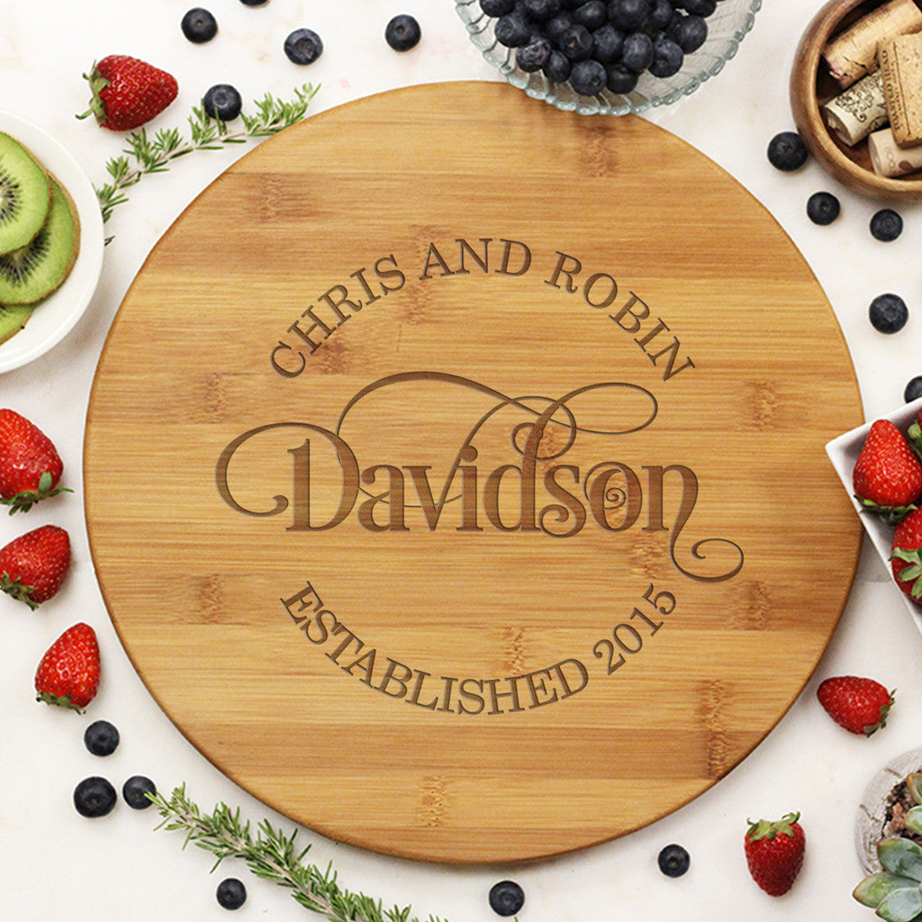 Swirly Design Round Custom Cutting Board Family Name
