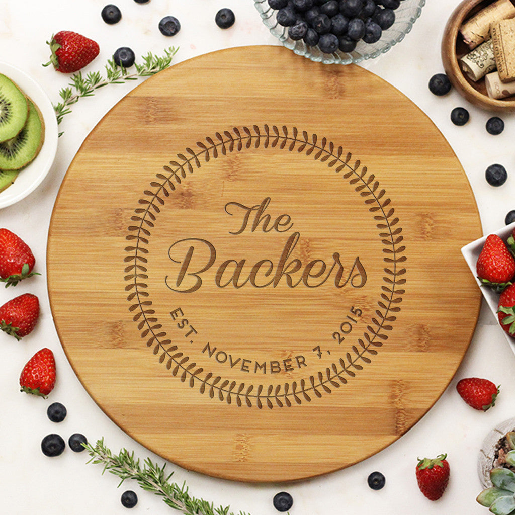 "Round Cutting Board ""Backers Leaf Circle"""