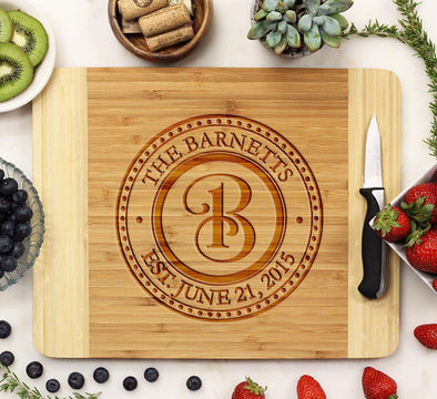 "Cutting Board ""Barnetts Curly Initial"""