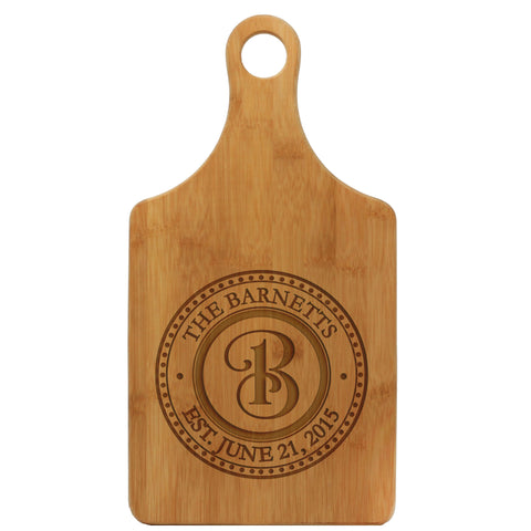 "Paddle Cutting Board ""Barnetts Curly Initial"""