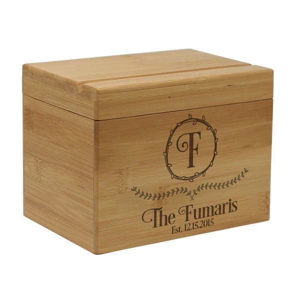 "Custom Engraved Recipe Box, Personalized Recipe Box, ""Fumaris"""