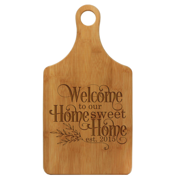 "Paddle Cutting Board ""Welcome Home Sweet Home"""