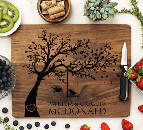 Love Birds In A Tree Personalized Cutting Board