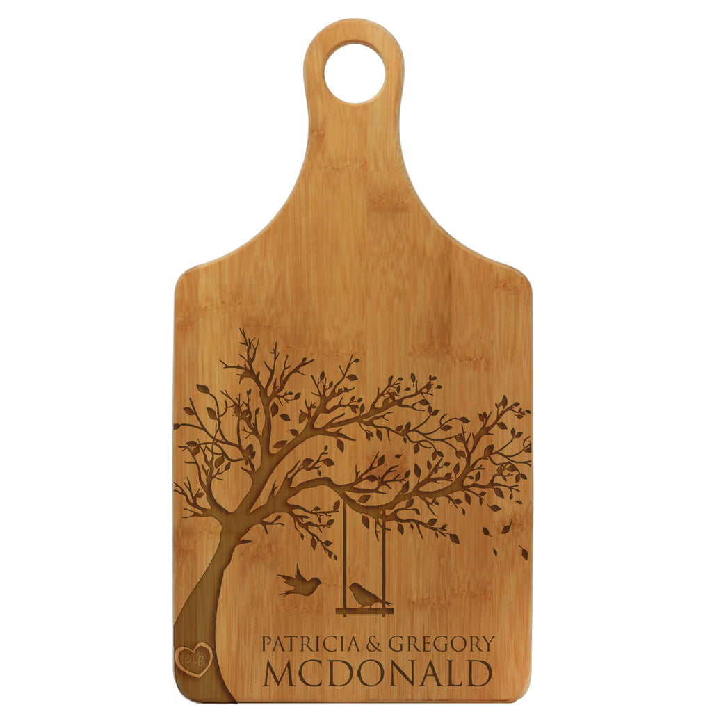 "Paddle Cutting Board ""McDonald Lovebirds"""
