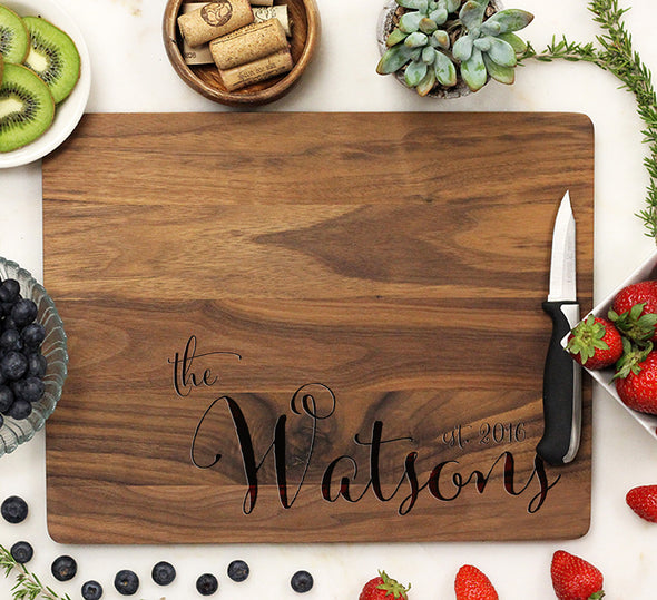 "Cutting Board ""Last Name Engraved Bottom"""