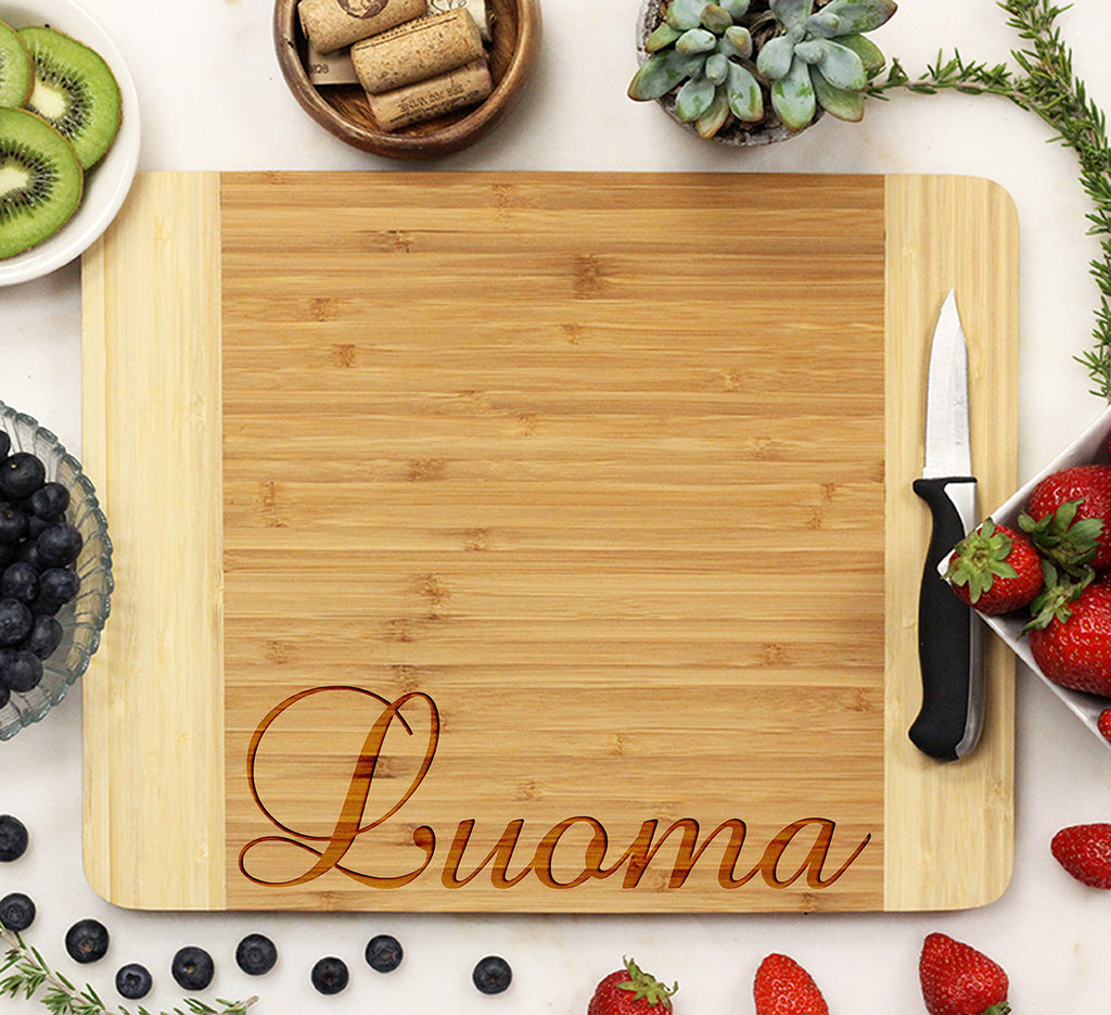 "Custom Wood Cutting Board ""Engraved Last Name Bottom Luoma"""