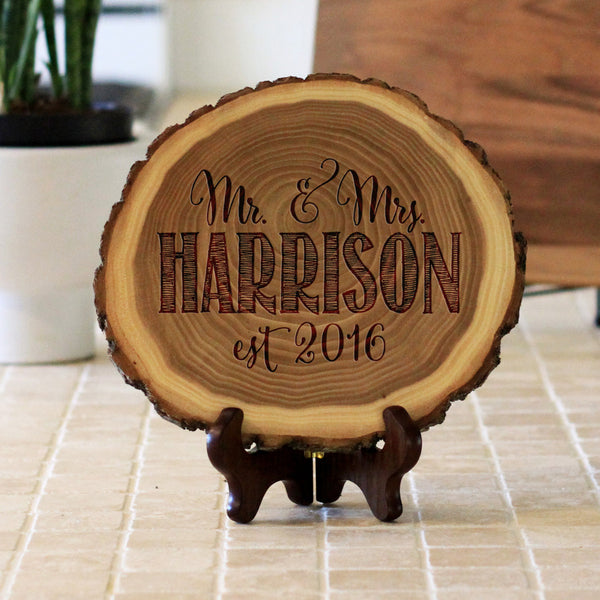 "Wood Plaque ""Mr & Mrs Harrison"""