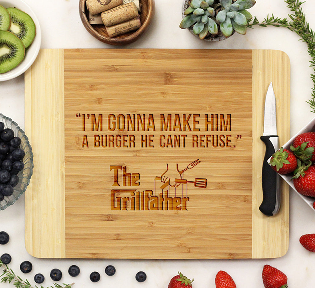 "Grill Father ""Burger you Can't refuse"" - Cutting Board"