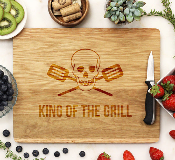 King of the Grill Skulls - Cutting Board