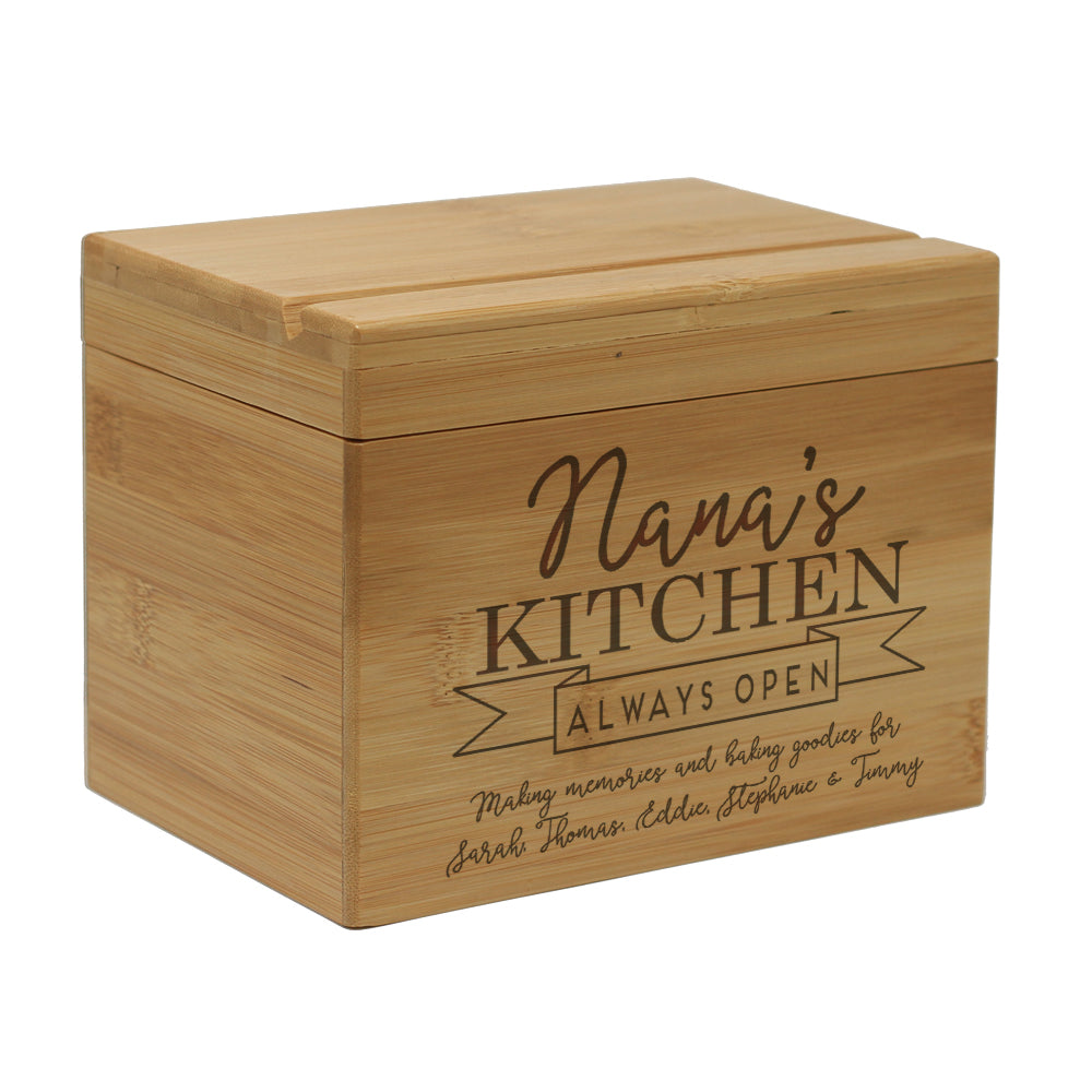 "Custom Engraved Recipe Box, Personalized Recipe Box, ""Nana's Kitchen Always Open"""