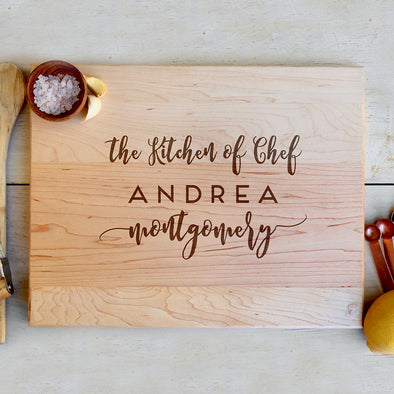 "Custom Maple Cutting Board ""Chef Andrea"""