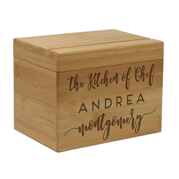 "Custom Engraved Recipe Box, Personalized Recipe Box, ""Andrea Montgomery"""