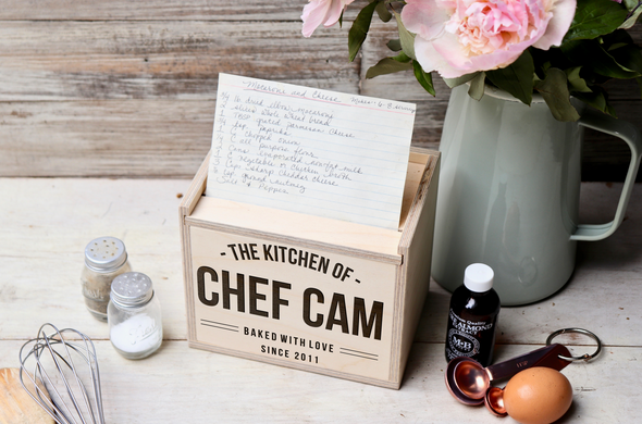 "Custom Engraved Recipe Box, Personalized Recipe Box, ""Chef Cam"""