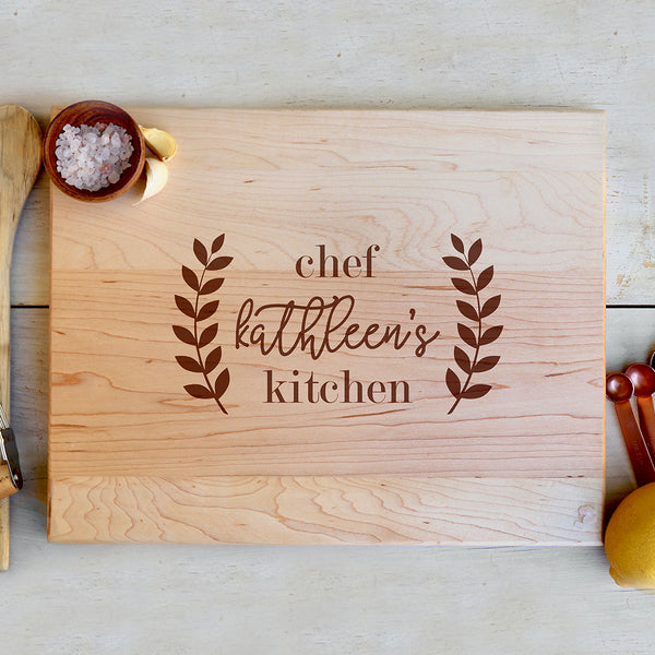 "Custom Maple Cutting Board ""Chef Kathleen's Kitchen"""