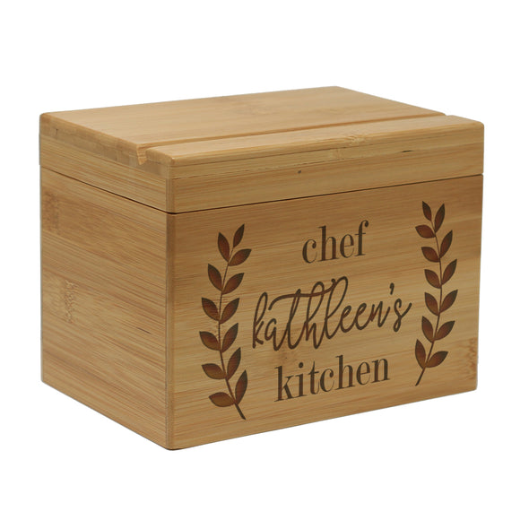 "Custom Engraved Recipe Box, Personalized Recipe Box, ""Chef Kathleen"""