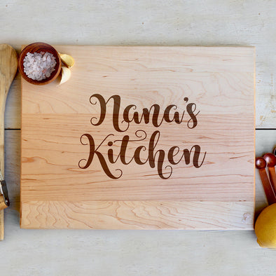 "Custom Maple Cutting Board ""Nana's Kitchen"" Cursive"
