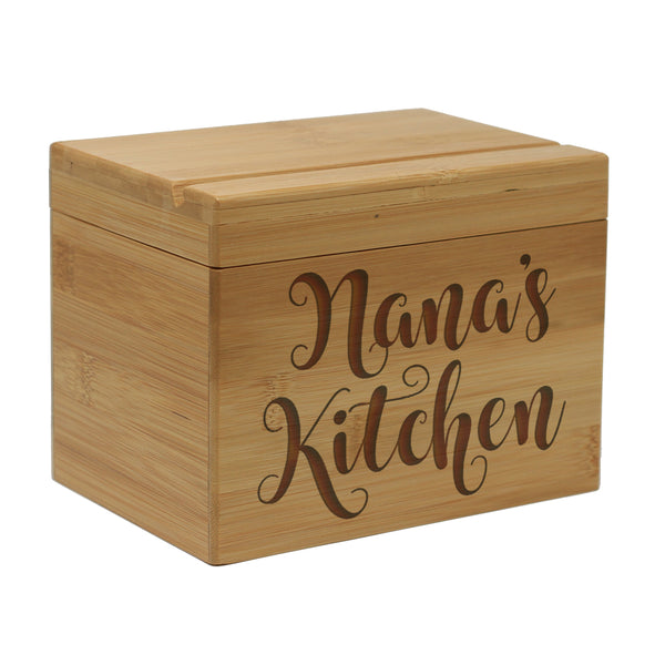 "Custom Engraved Recipe Box, Personalized Recipe Box, ""Nana's Kitchen"""