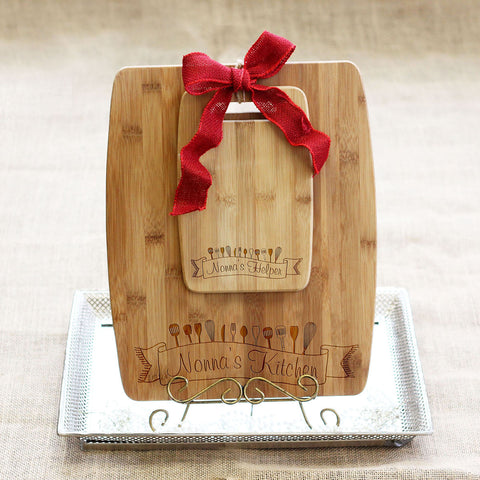 "Cutting Board Set - ""Nonna's Kitchen & Helper"""