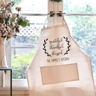 "Grateful Thankful Blessed Kitchen Apron, Custom Apron, Personalized Apron ""Ehmke's Kitchen"""