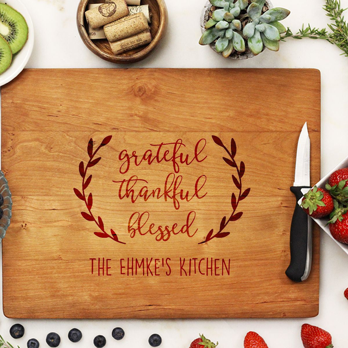 Cutting Board Grateful Thankful Blessed Stamp Out