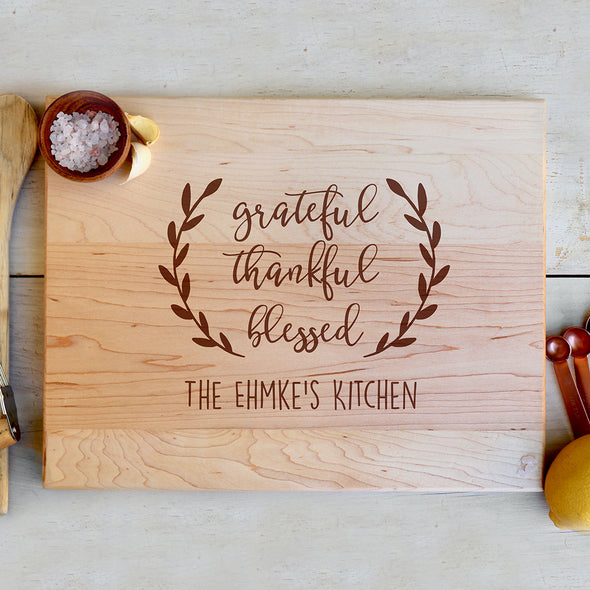 "Cutting Board ""Grateful, Thankful, Blessed"""