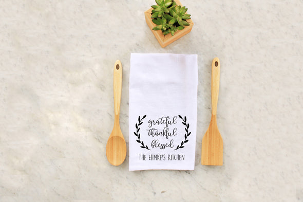 "Tea Towel - ""Grateful, Thankful, Blessed"""
