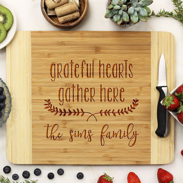 "Cutting Board ""Grateful Hearts Gather Here"""