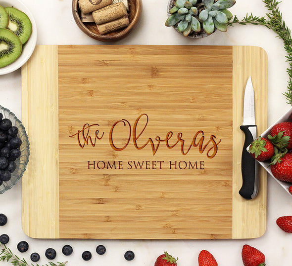 "Personalized Bamboo Cutting Board, Custom Wedding Engraved Cutting Board, Custom Cutting Board ""David & Martha"""