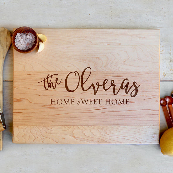 "Customized Cutting Board, Personalized Family Cutting Board ""the Olveras Home Sweet Home"""