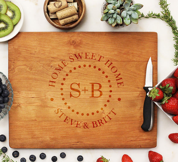 Personalized Cherry Wood Cutting Board, Custom Engraved Cutting Board, Custom Cutting Board