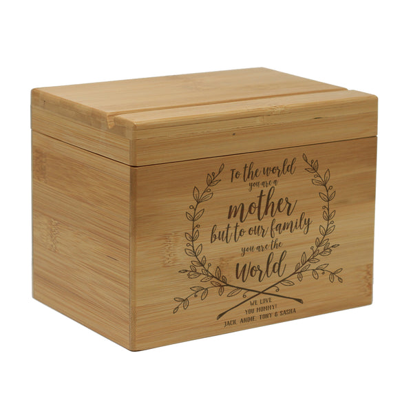 "Custom Engraved Recipe Box, Personalized Recipe Box, ""To the World Mother"""