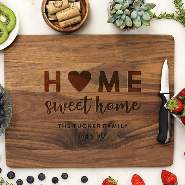 Customized Walnut Cutting Board, Home Sweet Home Personalized Cutting Board