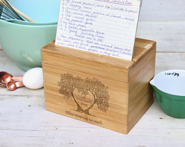 Custom Engraved Recipe Box, Personalized Recipe Box, Mother's Day Gift, Wedding Gift