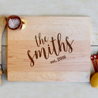 "Custom Maple Cutting Board ""The Smiths"""