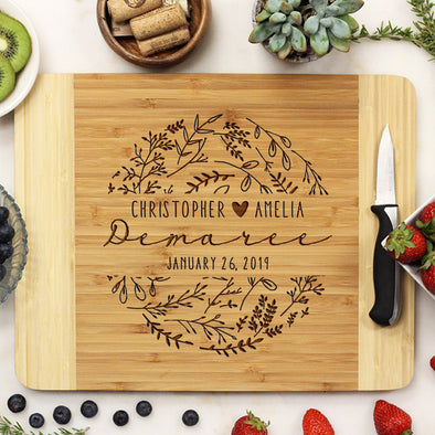 "Custom Floral Cutting Board, Personalized Engraved Cutting Board, Custom Cutting Board ""Christopher & Amelia Demaree"""