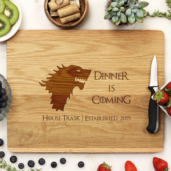 Game of Thrones Cutting Board, White Oak Cutting Board, Custom Engraved Cutting Board