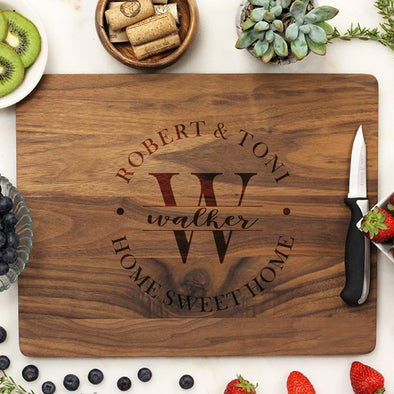 Personalized Walnut Cutting Board, Custom Housewarming Cutting Board, Custom Cutting Board