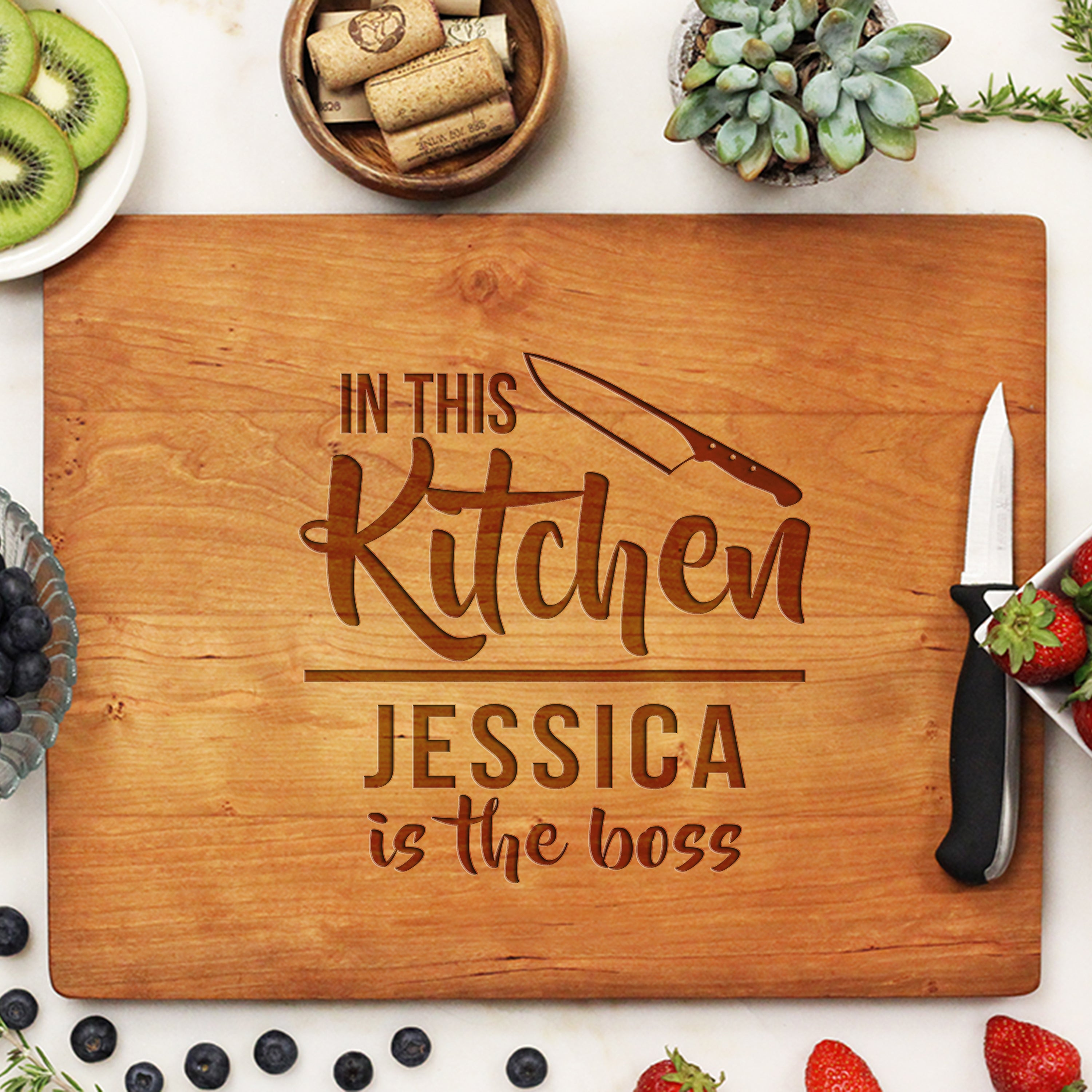 Personalized Engraved Cutting Board Custom Housewarming Cutting Board Stamp Out