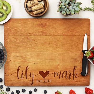 Personalized Cherry Wood Wedding Cutting Board, Custom Valentines Cutting Board, Custom Cutting Board